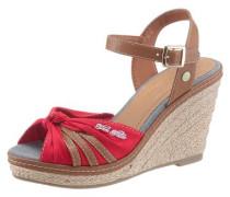 Sandalette mit Keilabsatz rot