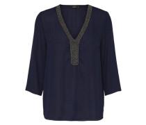 Detaillierte Bluse mit 3/4 Ärmeln blau