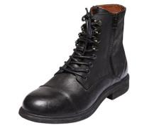 Genarbte Lederstiefel schwarz