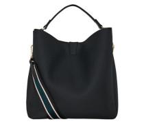 Handtasche mit abnehmbarem Streifengurt schwarz