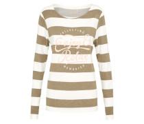 Sweatshirt 'Fleece Vi/cmd Sweater Block Stripe +Print' khaki / weiß