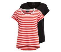 Einfaches T-Shirt 'vidreamers' rot / schwarz / weiß