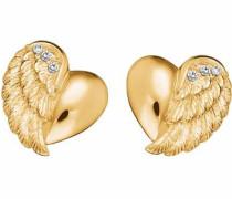Paar Ohrstecker 'Herzflügel Ere-Lilheartwing-Stg' gold