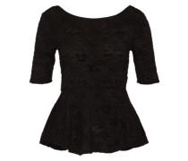 Shirt mit Schößchen 'Chenille' schwarz