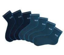 Damenkurzsocken (7 Paar) blau / marine / dunkelblau / petrol