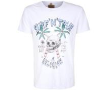 T-Shirt 'surf Skull' türkis / hellblau / weiß