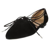 Spitzer Ballerina mit Schnüren schwarz