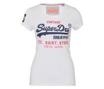 T-Shirt mit Label-Print 'Shop' navy / pink / weiß