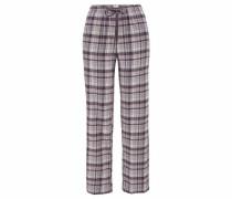 Flanell Pyjamahose in Karo-Design taupe