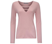 V-Pullover mit Schmucksteinchen rosa