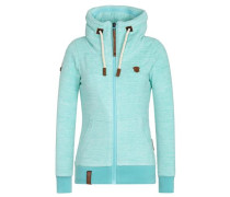 Zipped Jacket 'Redefreiheit? Iii' aqua / braun