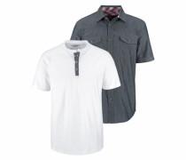 Kurzarmhemd (Set mit T-Shirt) blau