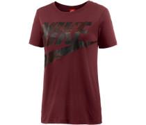 'Glacier' T-Shirt Damen weinrot / schwarz