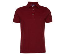 Poloshirt mit Flag-Label 'Luxury Pique Polo S/S SF' weinrot