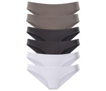 Bikinislips Active (6 Stck.) grau / schwarz / weiß