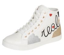 Sneaker high 'Louve' gold / silber / weiß