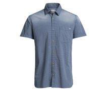 Lässiges kariertes Kurzarmhemd blau