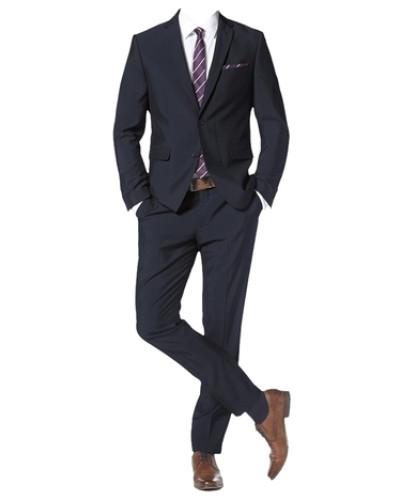 Anzug mit Krawatte und Einstecktuch (Set 4 tlg.) marine
