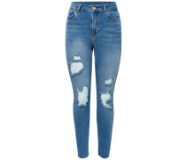 Slim Fit Jeans Studio2 High Waist Knöchel blau