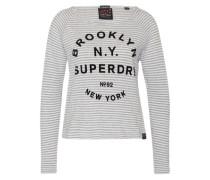 Langarmshirt 'Vintage Stripe' hellgrau / schwarz / weiß