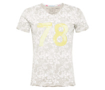 T-Shirt 'MT Palm v-neck' gelb / silbergrau / weiß