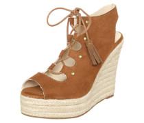 Sandalette mit Keilabsatz in Bast-Optik braun