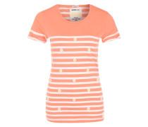 T-Shirt mit Blumenapplikation und Streifen orange