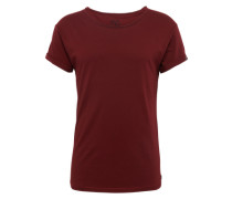 T-Shirt in Cold-Dyed-Optik weinrot