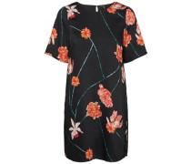 Feminines Kleid mit kurzen Ärmeln dunkelgrün / orangerot / schwarz