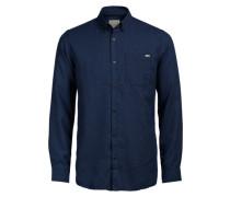 Button-down-Langarmhemd blau