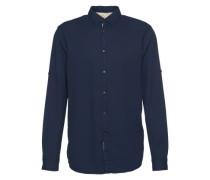 Casualhemd 'decorated dobby shirt' dunkelblau