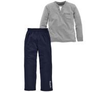 Langer Pyjama dunkelblau / grau / hellgrau / weiß