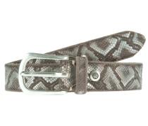 Ledergürtel MIT Metallic-Schlangenprint braun / silber