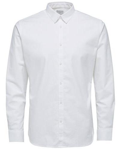 Slim-Fit-Langarmhemd weiß