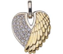 Anhänger »Herz mit Engelsflügel« mit Zirkonia silber