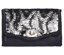 Geldbörse Leder 15 cm schwarz / silber