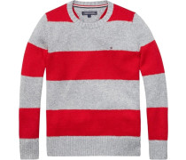 Pullover »Rugby Stripe CN Sweater L/s« grau / rot