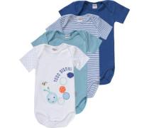 Bodys 4er-Pack für Jungen blau / hellblau / gelb / orange / weiß