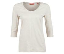Meliertes Flammgarn-Shirt beige