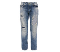 Tubx Straight: Destroyed-Jeans blau