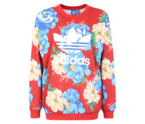Sweater mit Label-Print blau / mischfarben / blutrot