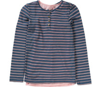 Langarmshirt 2-in-1 für Mädchen dunkelblau / rosa