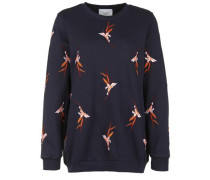 Sweatshirt mit Blumen-Stickerei dunkelblau / orange