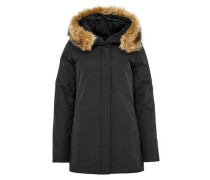 Lange Daunenjacke mit Fake-Fur-Kapuze schwarz