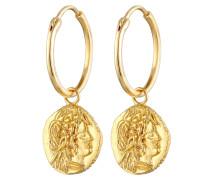Ohrringe Creole Münze Vintage gold