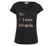 T-Shirt mit Glitzer-Print schwarz