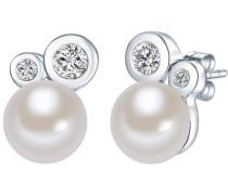 Perlen-Ohrstecker mit Süßwasser-Zuchtperlen und Zirkonia silber