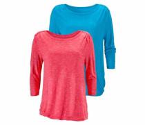 ¾-Shirts mit Schulterraffung (2 Stück)