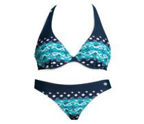 Bügel-Bikini beige / blau