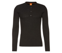 Sweatshirt im Henley-Stil 'Topsider 1' schwarzmeliert